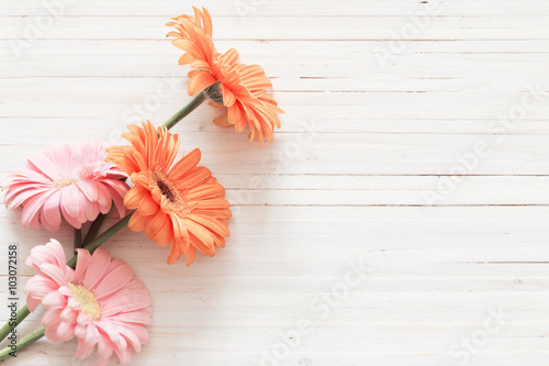 Foto op Plexiglas Gerbera gerbera flowers on the wooden table