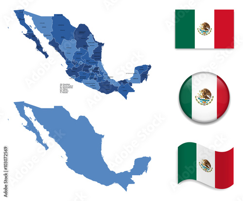 High Detailed Map of Mexico With Flag Collection - Buy this ...