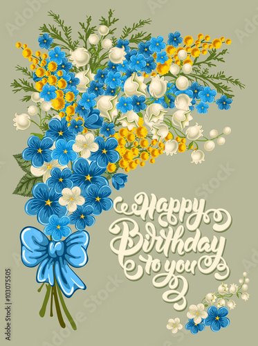 Happy Birthday Themed Vector Card Set Hand Drawn Calligraphic