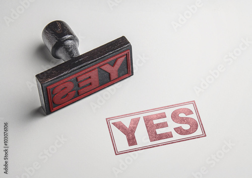 Vászonkép Yes printing red stamp and imprint