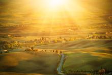 Wavy Fields In Tuscany At Sune...