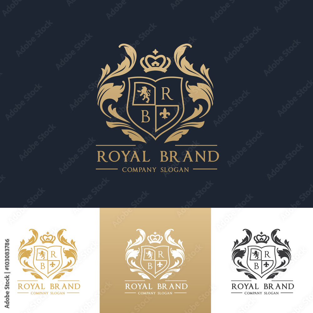 Fototapeta Luxury royal crest logo template design for hotel and fashion brand identity.