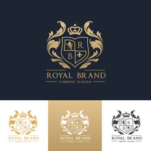 Luxury Royal Crest Logo Template Design For Hotel And Fashion Brand Identity.