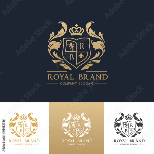 Fotografia  Luxury royal crest logo template design for hotel and fashion brand identity