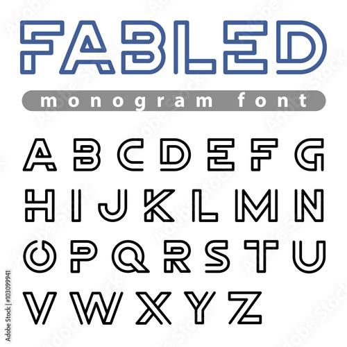 Fotografía  Logo Font vector alphabet design linear ABC outline typeface