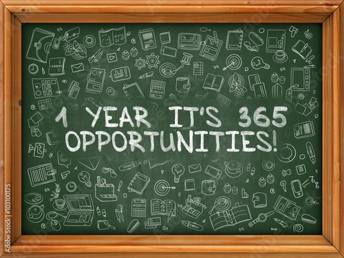 Fotografia  Hand Drawn 1 Year Its 365 Opportunities on Green Chalkboard