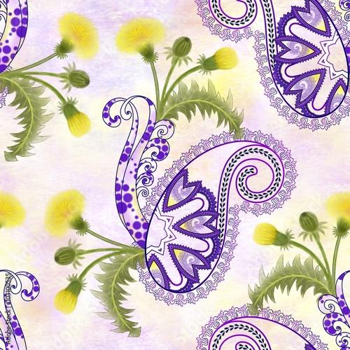 Naklejki witrażowe bezszwowy-wzor-z-purpurowym-paisley-zolci-dandelion-kwiaty