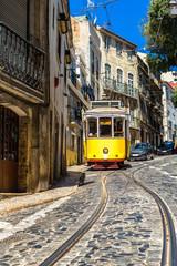 Panel Szklany Podświetlane Uliczki Lisbon tram