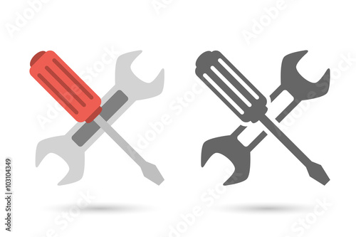 Repair icon. Wrench and screwdriver Fototapet