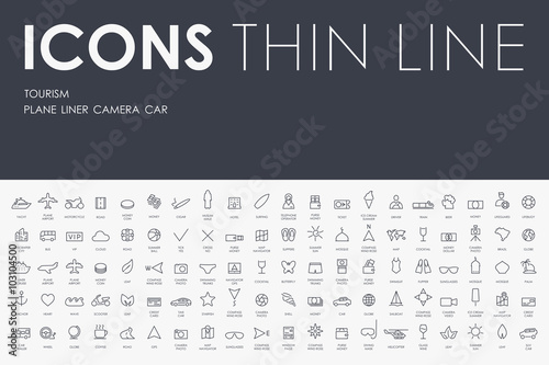 tourism Thin Line Icons