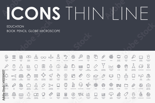 Fotografía  education Thin Line Icons