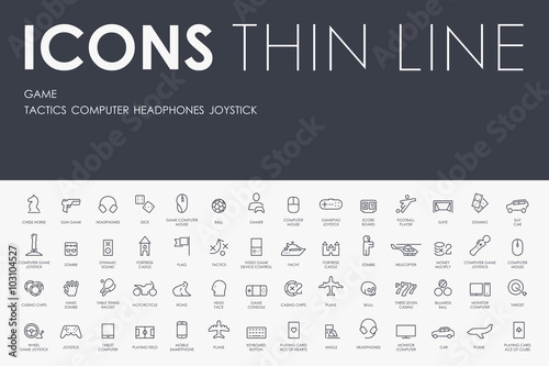 Plakat  gaming Thin Line Icons
