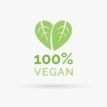 100% Vegan Icon Design. 100% Vegan Symbol Design. Vegan Food Sign With Leaves In Heart Shape Design. Vector Illustration.