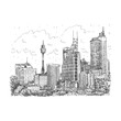 Sydney Tower and skyscrapers view of Sydney, Australia. Vector freehand pencil sketch.