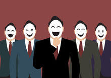 Businessmans Wearing A Various Mask
