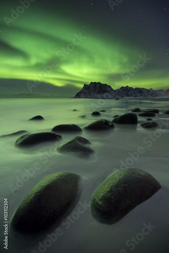 Aurora borealis over a beach on the Lofoten in Norway - 103112304