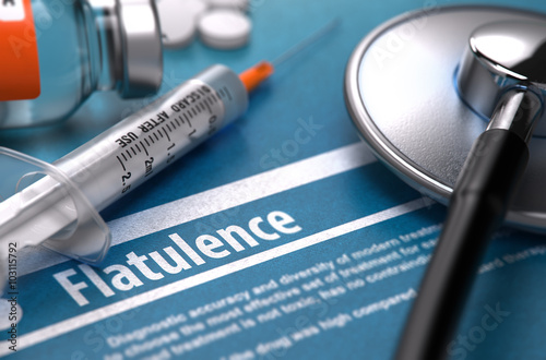 Αφίσα  Flatulence - Printed Diagnosis on Blue Background and Medical Composition - Stethoscope, Pills and Syringe