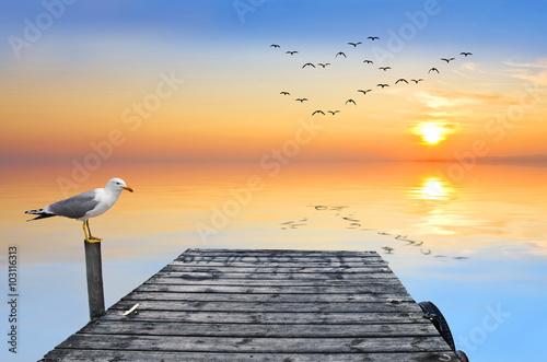 amanecer en el mar en calma