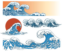 Waves In Japanese Style. Sea W...