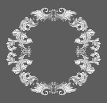 Vintage Baroque Frame Border With Leaf Scroll Floral Ornament In Line Style. Frame Floral, Decorative Vintage Frame,  Baroque Frame. Vector Illustration