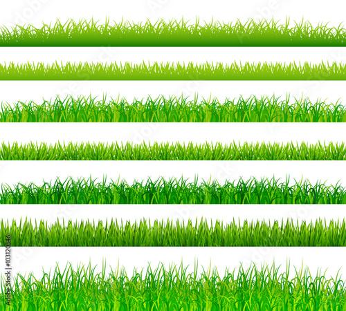 Fotografía  Green grass borders set