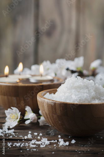 Fotografie, Obraz  SPA treatment with salt, almond and candles
