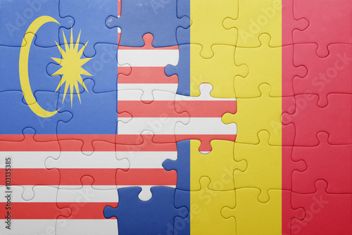 puzzle with the national flag of malaysia and romania Poster