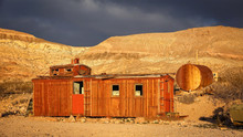 Abandoned Red Caboose In Rhyolite Ghost Town
