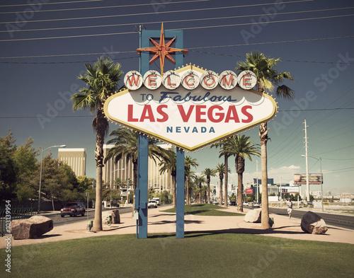 Poster Las Vegas famous sign on Las Vegas Boulevard (Strip), Nevada, USA vintage style