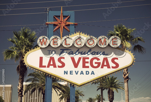 Foto op Aluminium Las Vegas close-up of famous sign on Las Vegas Boulevard (Strip), vintage style, Nevada, USA