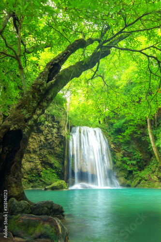 Forest waterfall at Erawan waterfall National, Kanchanaburi,Thai