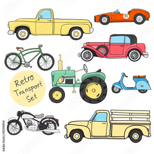 Staande foto Cartoon cars Retro cartoon transportation set