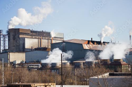Foto op Plexiglas Stadion Plant with smoke