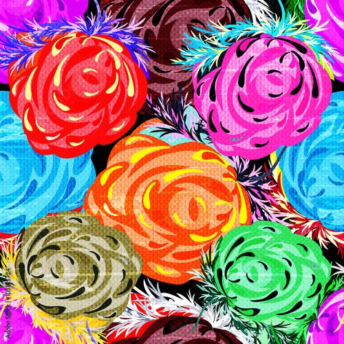 Papiers peints Cactus beautiful roses seamless background