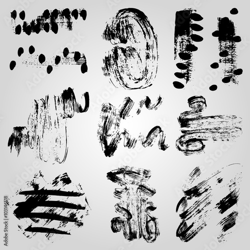 Poster Cartoon draw Collection of monochrome grunge band line on a light background