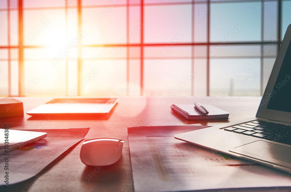 Fototapeta Office workplace with laptop
