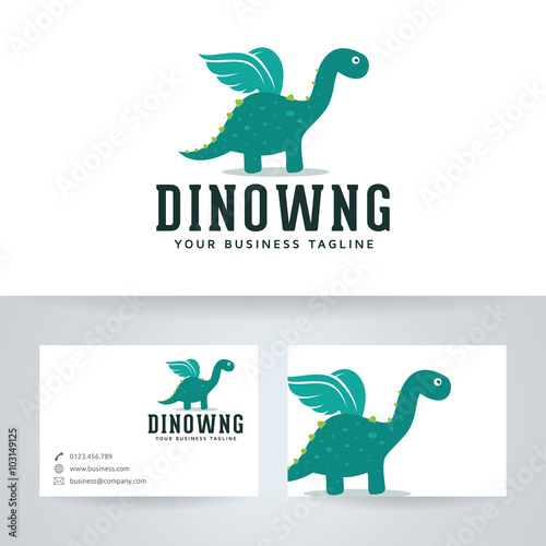 Photo  Dino wings vector logo with business card template