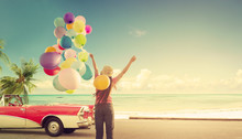 Happy Young Woman Holding Colorful Balloons With Floating, Concept Of Journey Honeymoon In Summer On Tripical Beach Blue Sky - Vintage Color Tone