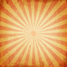 Vintage Background Of Red Sunray With Retro Canvas Texture