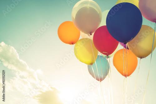 Fotografía  Vintage multicolor balloons of birthday party