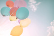 canvas print picture - Colorful balloons in summer holidays. Pastel color filter
