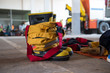 Empty firefighter's boots, helmet and uniform