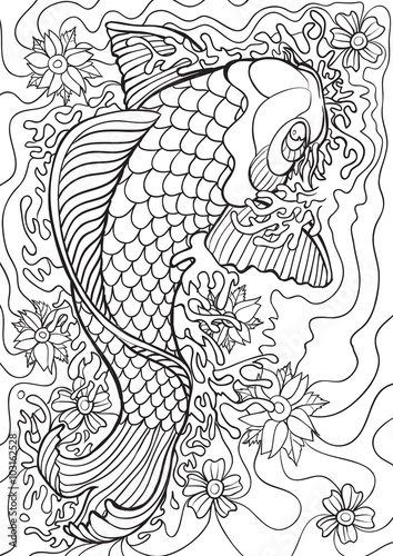 Adult Coloring book – illustration. Tattoo set: Koi. Vector illustration.