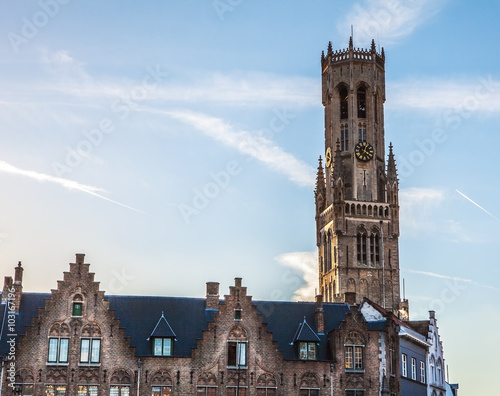 Obraz na płótnie Belfry Tower of Bruges, Belgium at sun set.