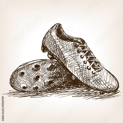 14242d4f9eb Football boots hand drawn sketch style vector. By Alexander Pokusay