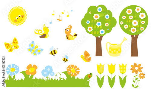 Set Of Cute Cartoon Nature Objects Flowers Singing Birds Flying