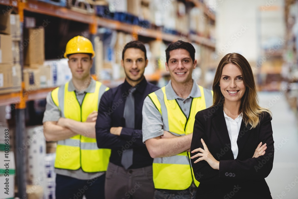 Fototapeta Portrait of warehouse manager and workers
