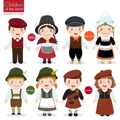 Kids in different traditional costumes (Wales, Netherlands, Germ