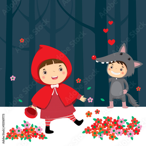 fototapeta na ścianę Little red riding hood and gray wolf