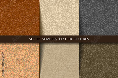 Poster Artificiel Set of seamless leather textures